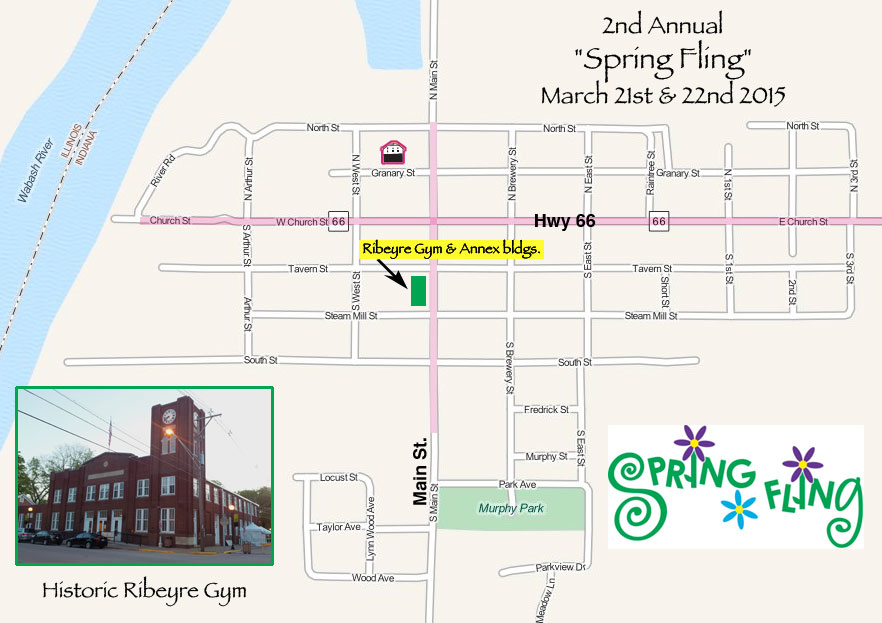 map of New Harmony Indiana town center