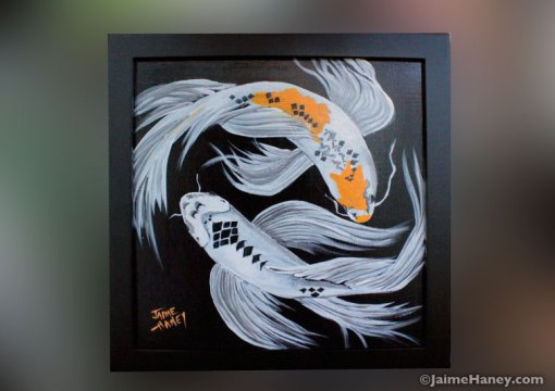 Signed and framed two koi fish painting
