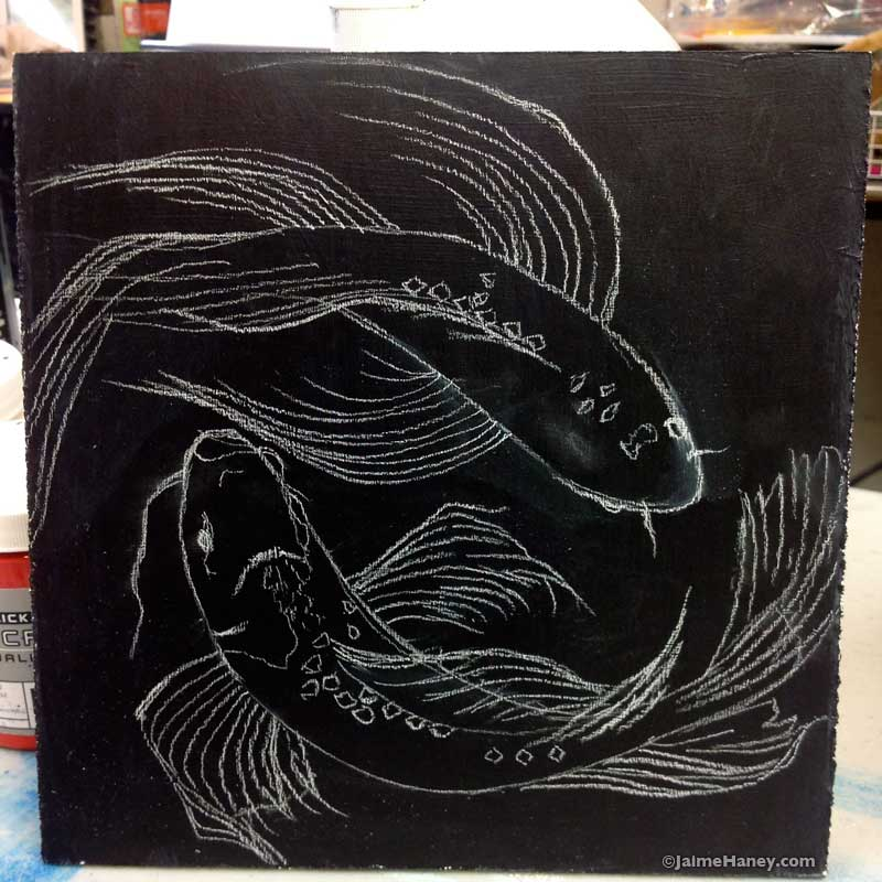 sketch of soon to be koi fish painting