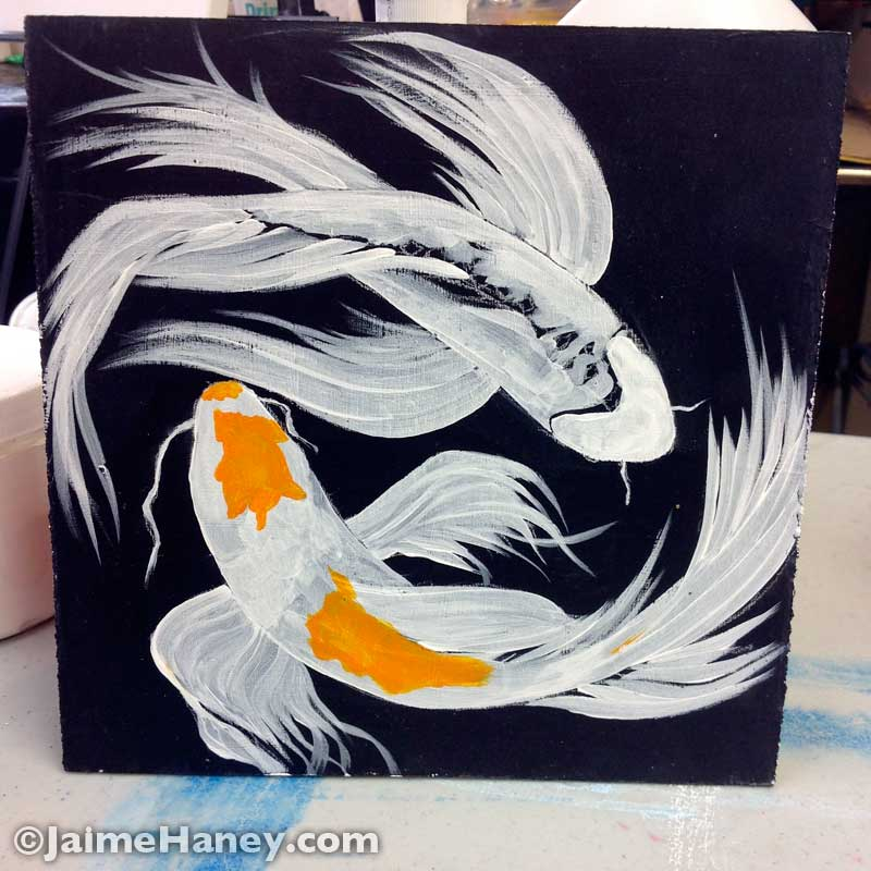 wrok in progress of two koi fish painting