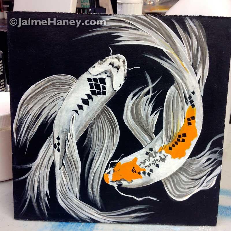 two koi fish painting