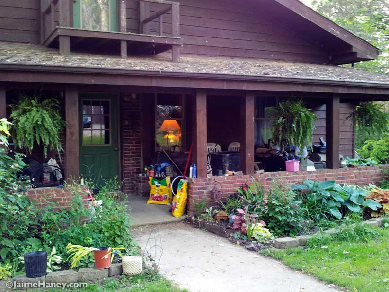 front of cedar house and porch