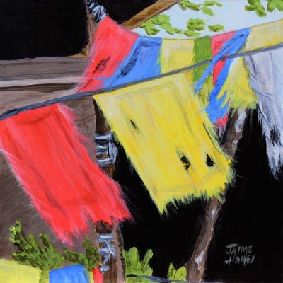 Tattered Prayers painting of prayer flags