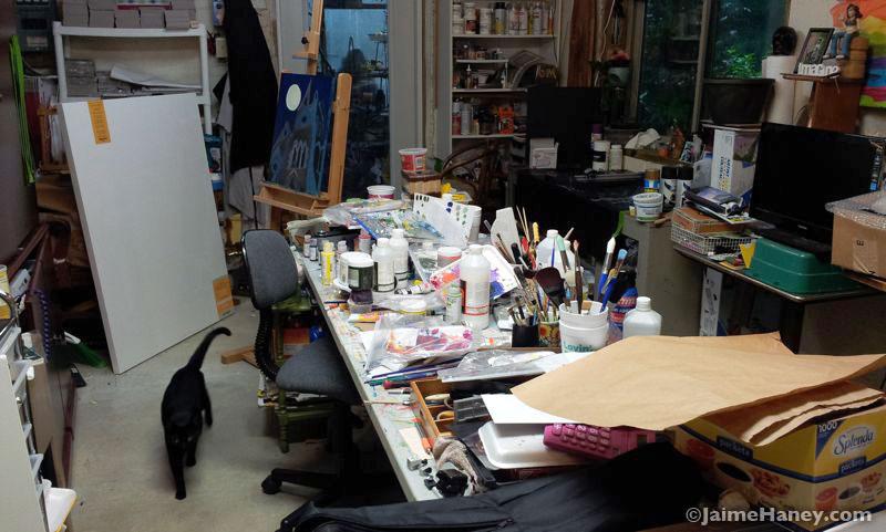 My messy art studio after an art show