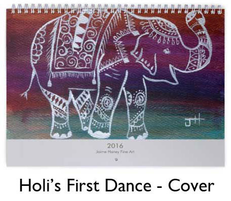 Indian elephant painting on calendar