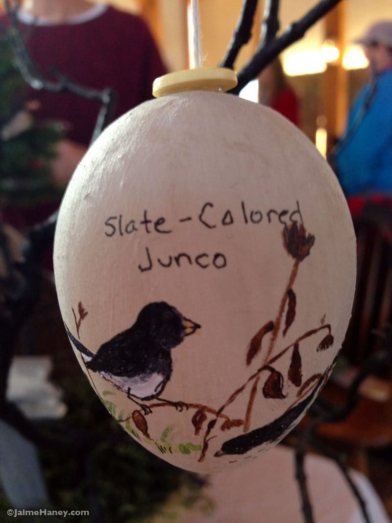 hand painted birds on eggs ornaments by Patty Beagle