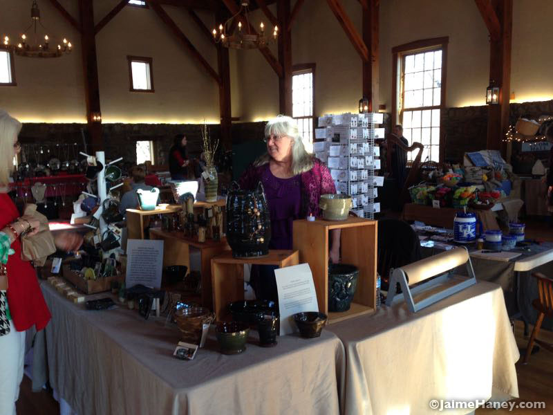 French Ridge Pottery booth in Christmas in New Harmony 2015