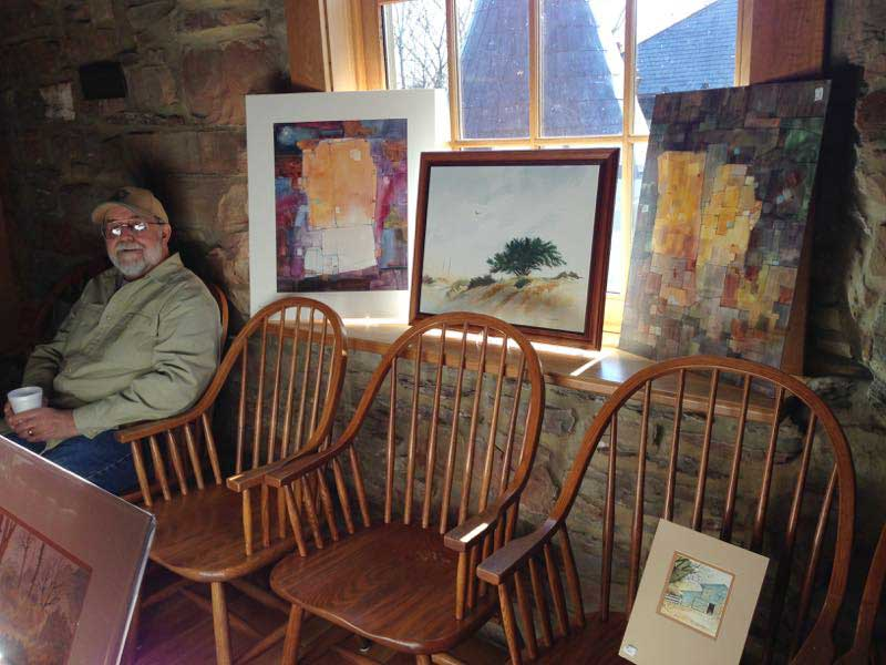 Ron Leonhardt watercolor artist at Christmas in New Harmony