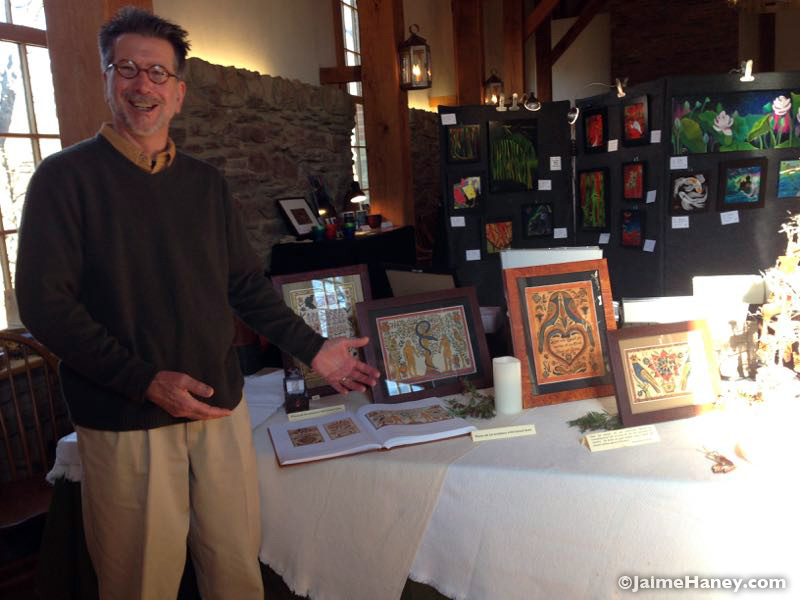 Tom Wintczak in his booth at Christmas in New Harmony 2015