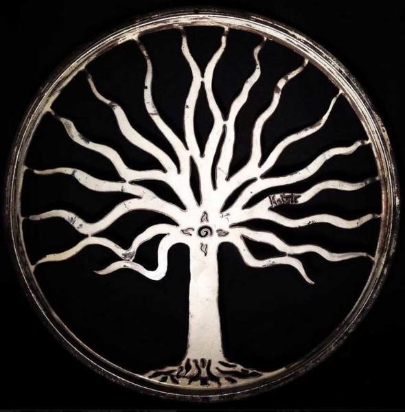 Tree of Life round metal art by Kotah Moon