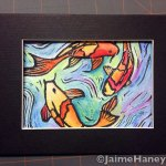 Hand Embellished Koi Fish Monoprint shown in black mat (not included)