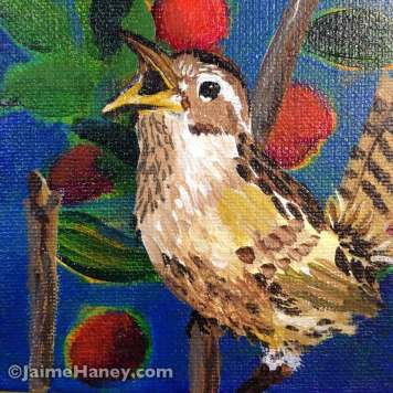 Squawking wren painting