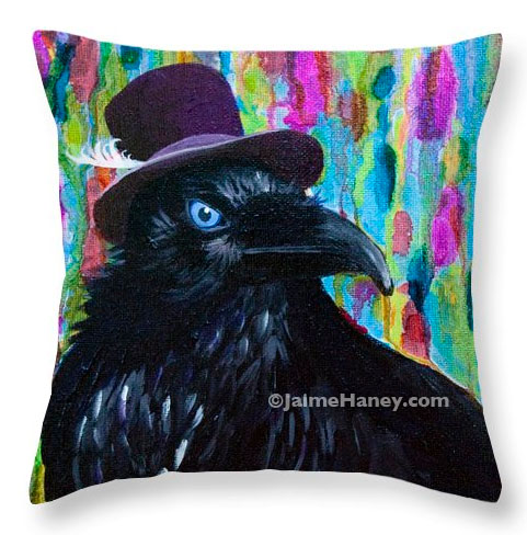 Raven wearing a purple hat painting on a pillow