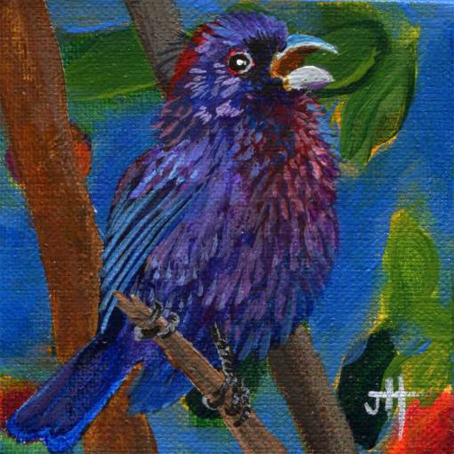 blue and purple bunting bird painting.
