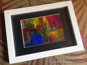 Small original abstract painting shown horizontally in frame