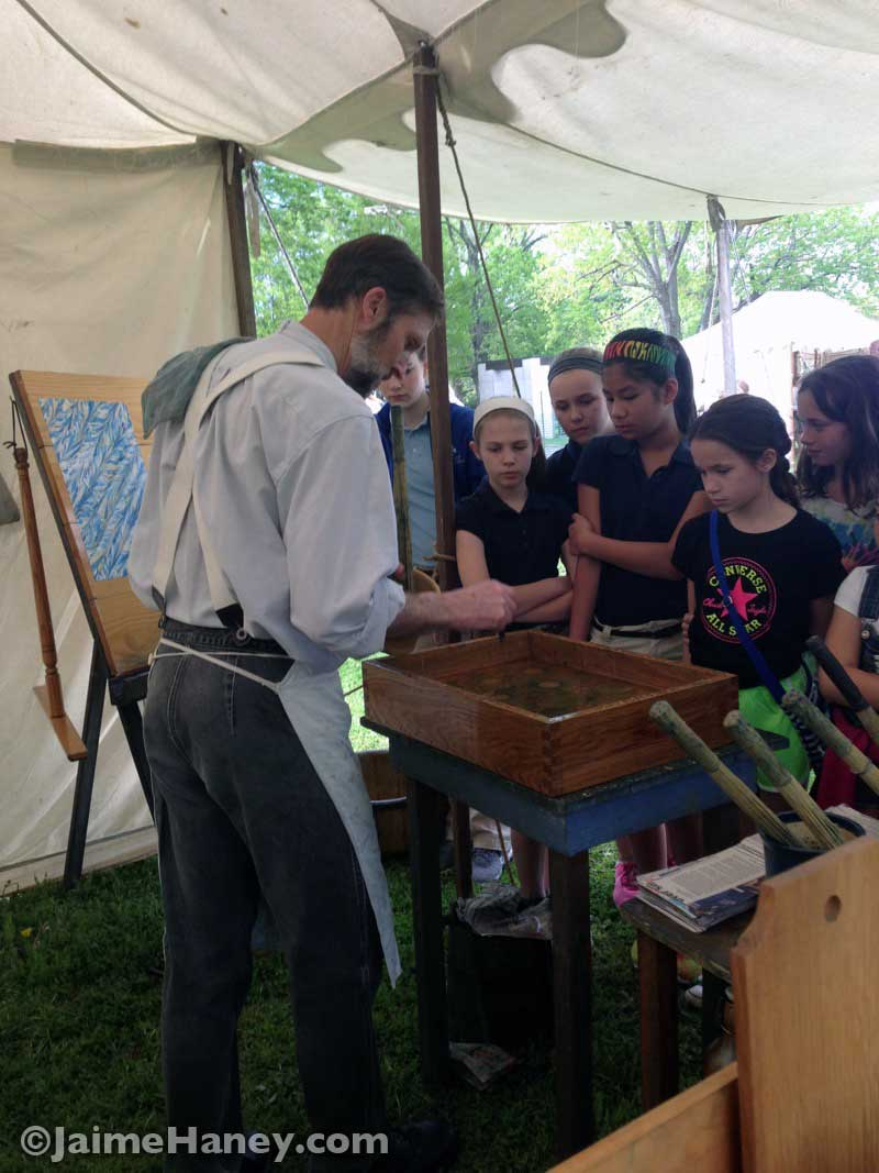 John Bielik bookbinding and paper marbling at the Heritage Artisans Days in New Harmony Indiana 2016