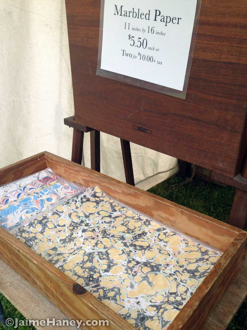 marbled paper items at the Heritage Artisans Days in New Harmony Indiana 2016