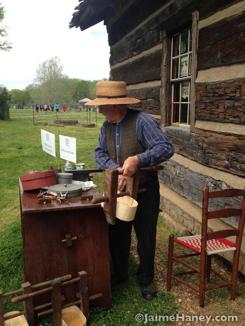 Marion Mitchell demonstrating how to make bentwood boxes during Heritage Artisans Days in New Harmony Indiana 2016