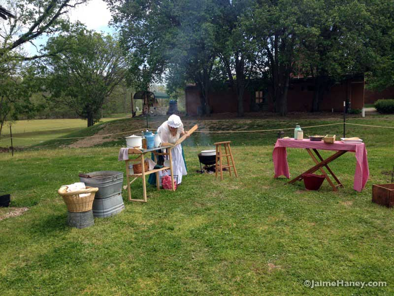 Puddy McCutchan demonstrating soap making during Heritage Artisans Days in New Harmony Indiana 2016