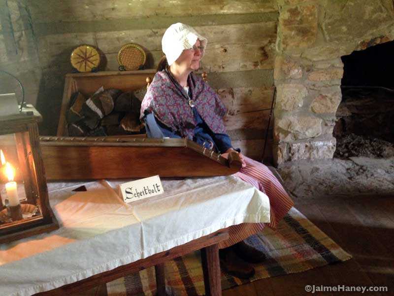 Ruth-Wintczak in 1800's costume during Heritage Artisans Days in New Harmony Indiana 2016