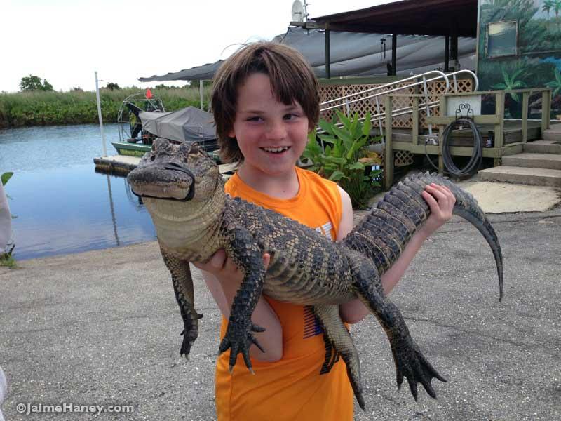 holding an alligator