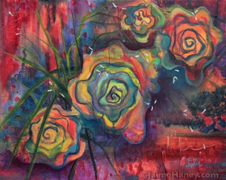 "Rose Mystique 20""x16"" acrylic painting"