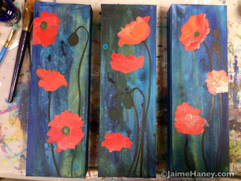 poppies painting work in progress