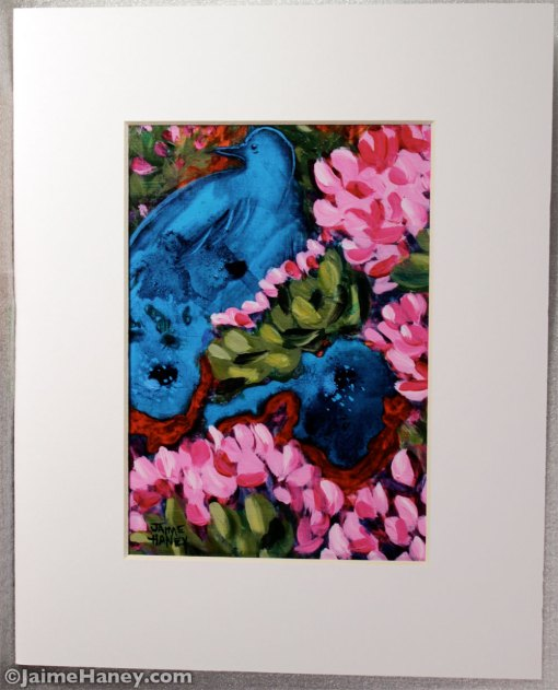 matted reproduction of Cactus Flower Blue Bird Dream painting by Jaime Haney