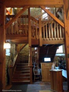 beautiful stairway inside the Rapp-Owen Granary in New Harmony, Indiana