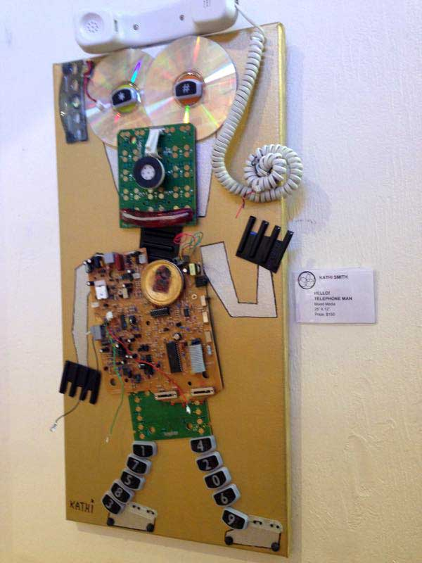 Telephone Man recycled sculpture by artist Kathi Smith