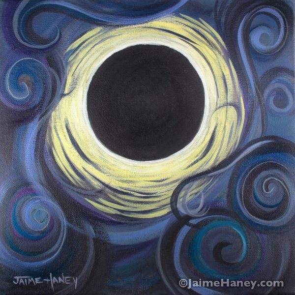 """""""Luna Synchronicity"""" abstract painting of the solar eclipse"""