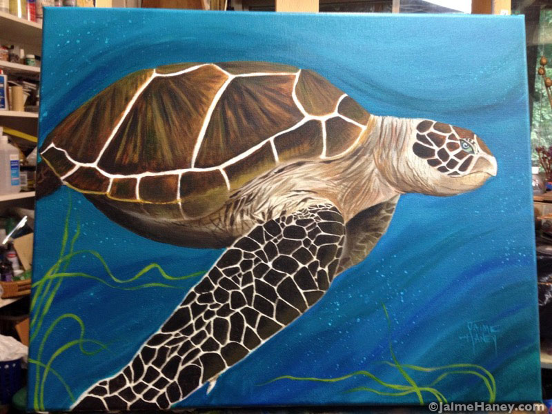 Finished Sea Turtle painting shown in artist's studio