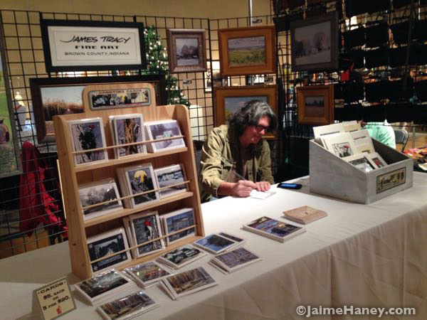 Artist James Tracy in his booth at Winter Art & Craft Festival