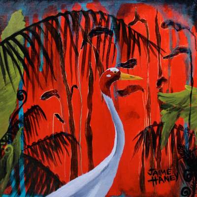 sarus crane painting with red tropical background
