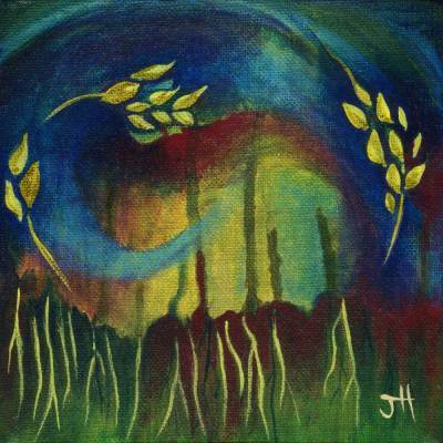 Dancing wheat earthy original painting