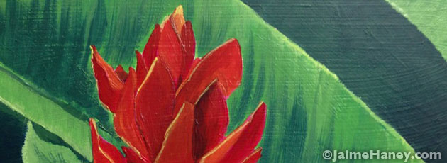 Painting 2 Red Ginger Plant