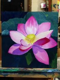 Pink Lotus flower painting