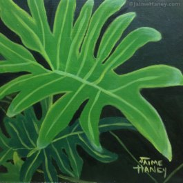 Bright green painted philodendron leaf