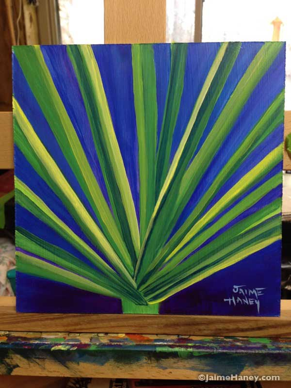 windmill palm painting on board