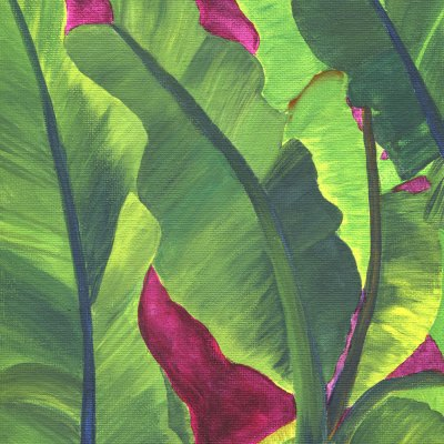 Banana leaves painting titled Magenta Mamb