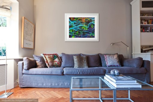 Mystical Mother Nature print shown matted and framed in living room