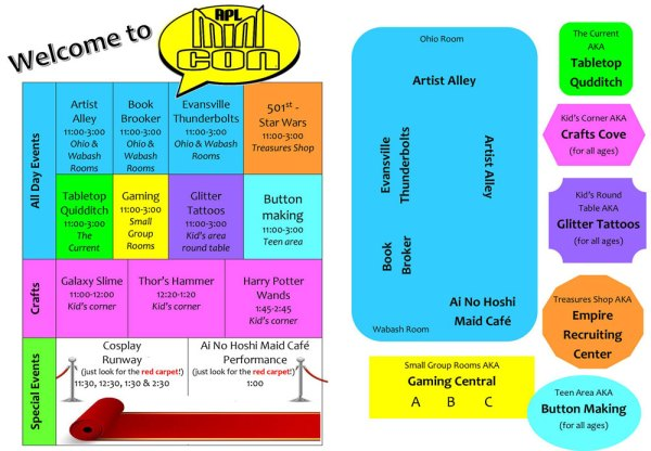 Schedule and layout for Mini Con held in Alexandrian Public Library
