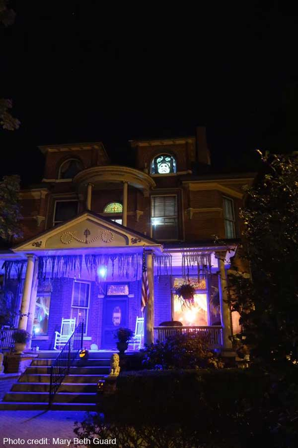 A.C. Thomas House in New Harmony, Indiana decked out for Halloween.