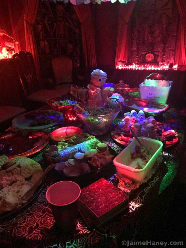 creative food table for Halloween Costume Party