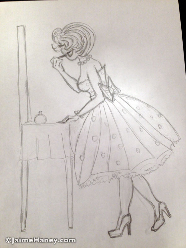sketch for Glamour Girl to be painted on Little Guy Trailer