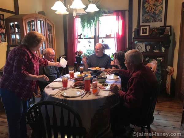Preparing to eat Thanksgiving Dinner