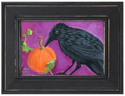 Painting of a black crow guarding pumpkin on vine