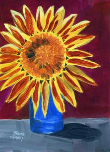 Painting of a sunflower in a blue glass.