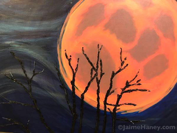 super blood wolf moon painting in progress
