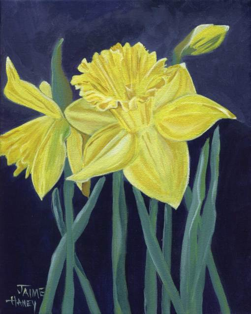 Yellow daffodils original painting by Jaime Haney